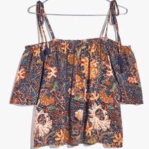 Madewell Silk Boho Floral Off Shoulder Top